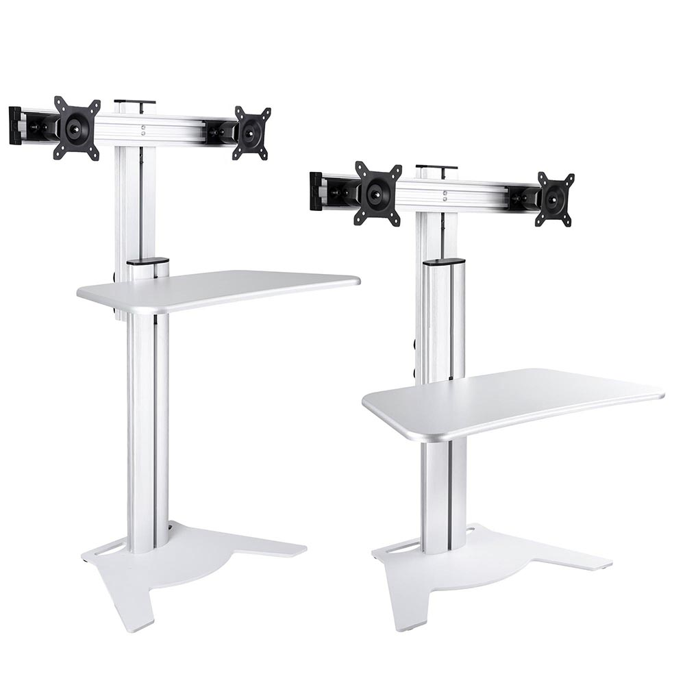 Adjustable Height Sit Stand Work Computer Double Monitor
