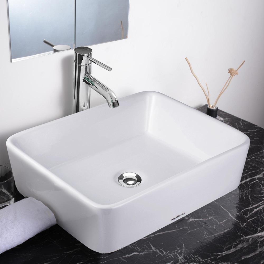 Aquaterior White Porcelain Ceramic Bathroom Vessel Sink Basin W Pop Up Drain Ebay