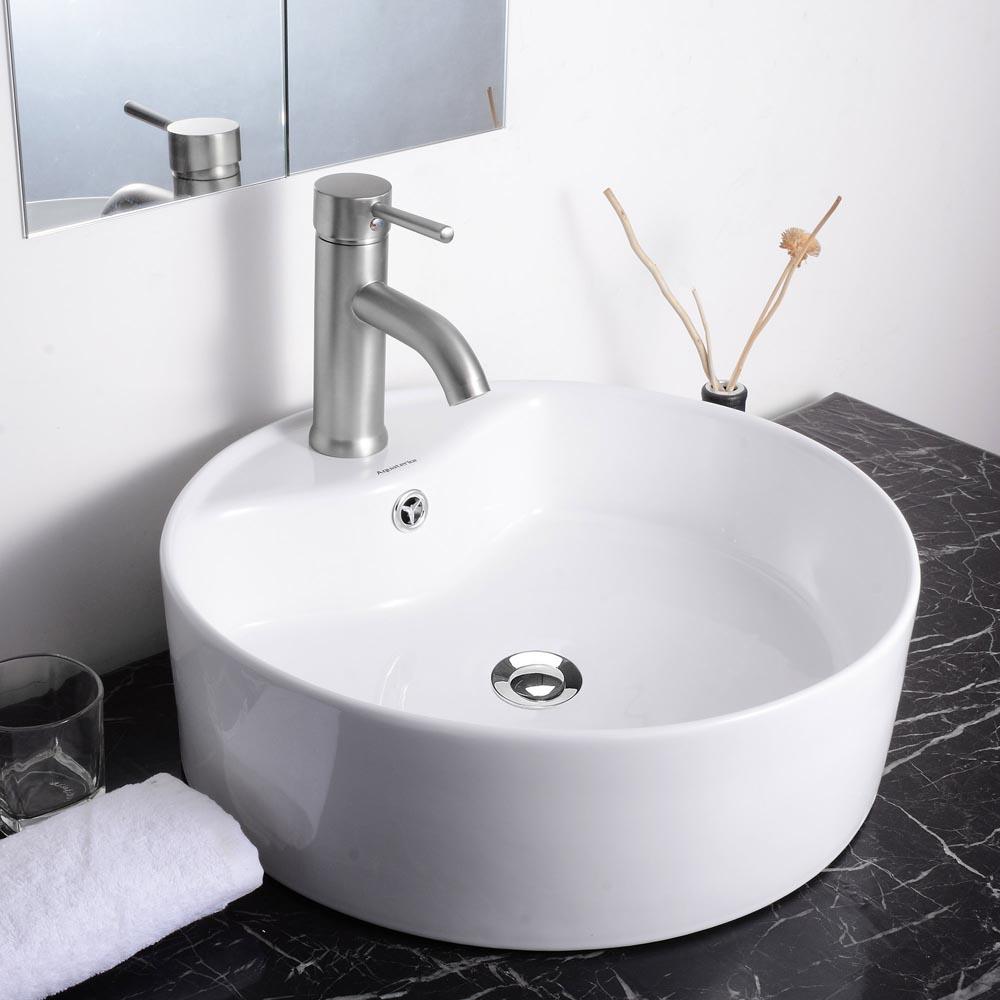 Aquaterior porcelain ceramic bathroom vessel sink basin w for Bathroom basin