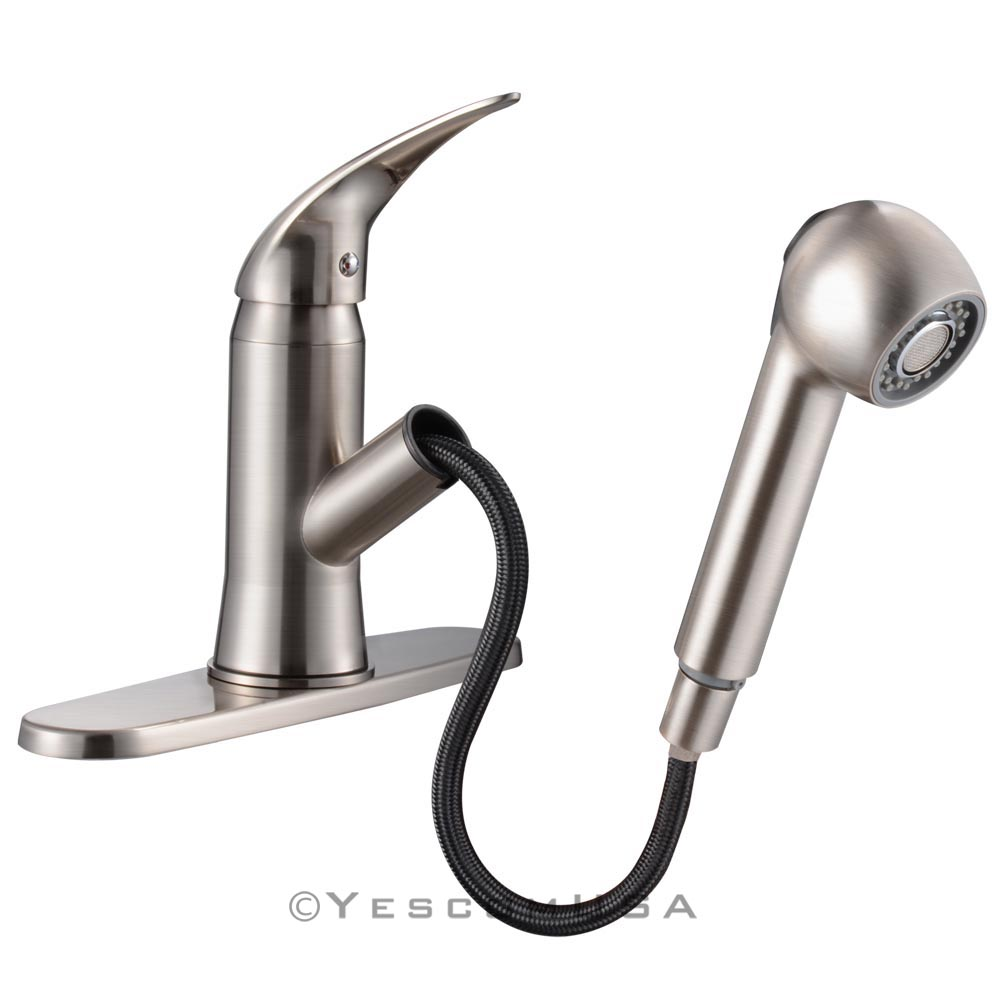 Pull-Out Spray Kitchen Faucet Swivel Spout Sink Single Handle Mixer Tap Opt