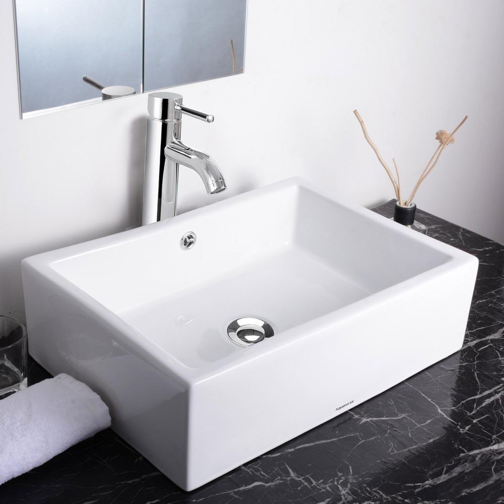aquaterior bathroom porcelain ceramic vessel sink bowl w chrome faucet combo ebay. Black Bedroom Furniture Sets. Home Design Ideas