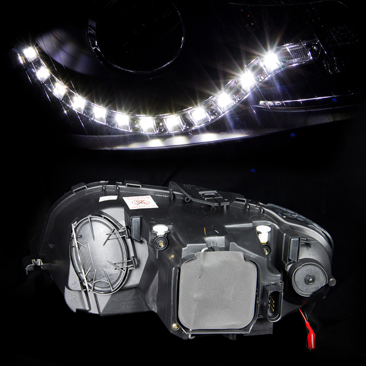 [R8 Style LED Strip] 2006 2007 2008 Audi A3 LED Projector