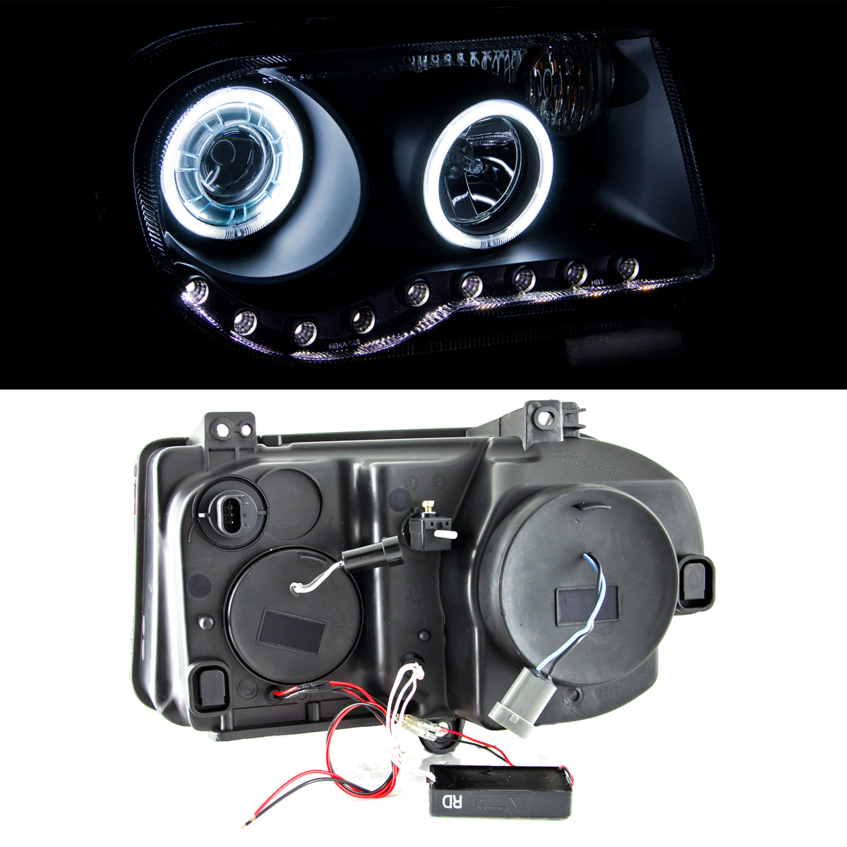2005 2006 2007 Chrysler 300c Srt8 Clear Black Headlights: [Dual CCFL Halo] 2005 2006 2007 2008 2009 2010 Chrysler