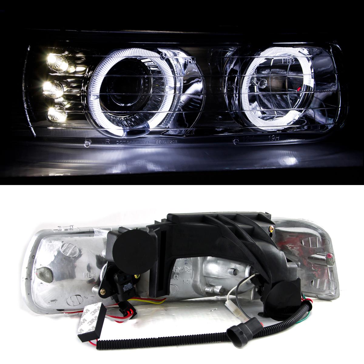 1999 2002 chevy silverado 1500 2500 3500 led halo chrome projector headlights ebay