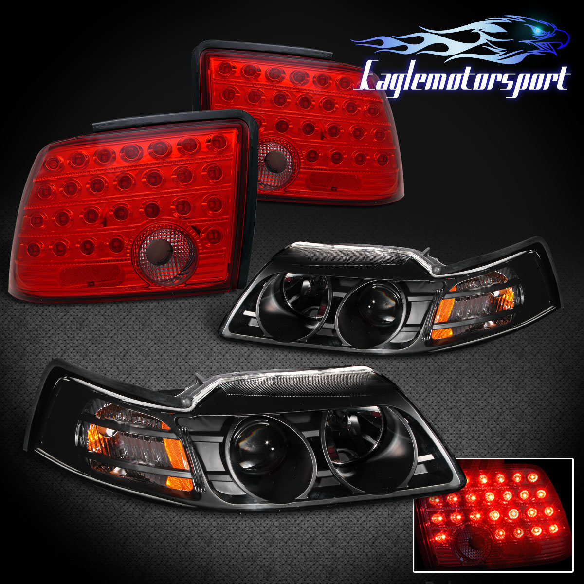 1999 2004 ford mustang black projector headlights red. Black Bedroom Furniture Sets. Home Design Ideas