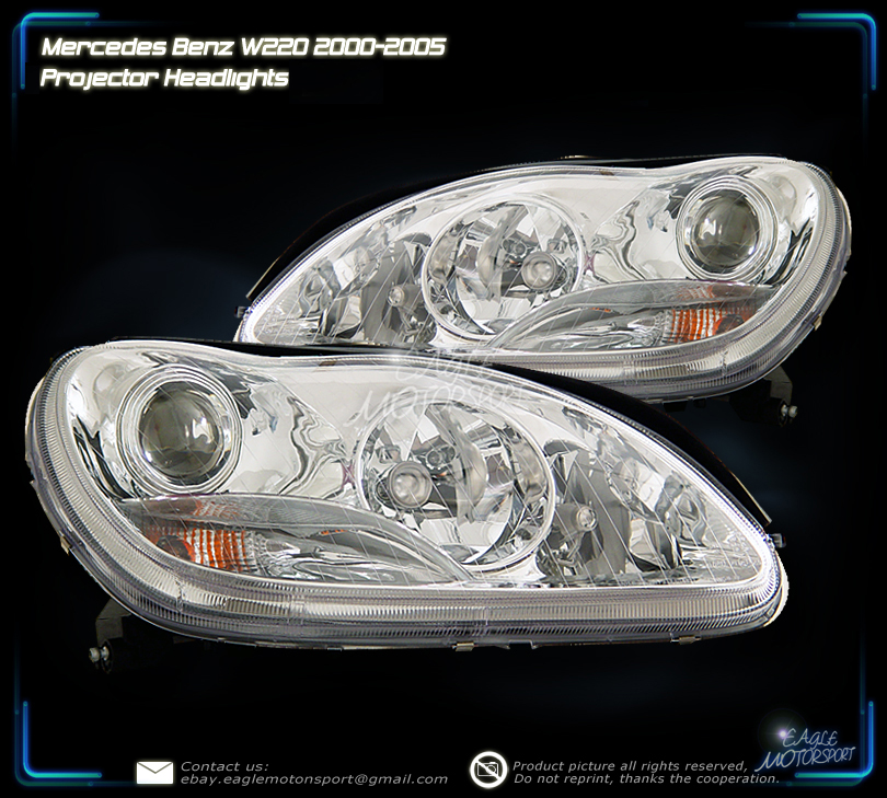 2000 2005 mercedes benz w220 s class 4d 4dr sedan for Mercedes benz s430 headlight replacement