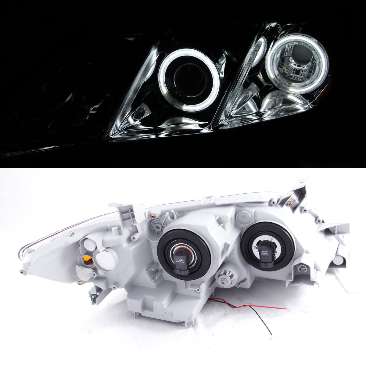 dual ccfl halo 2007 2008 2009 toyota camry black angle eye projector headlights ebay. Black Bedroom Furniture Sets. Home Design Ideas