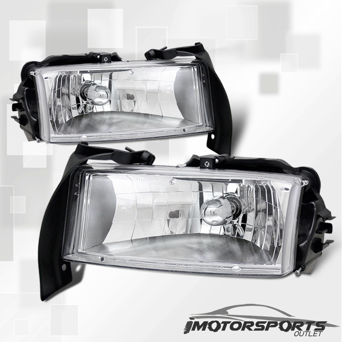 Dodge 97-04 Dakota 98-03 Durango Crystal Chrome Clear Headlights LH+RH Lamps 03