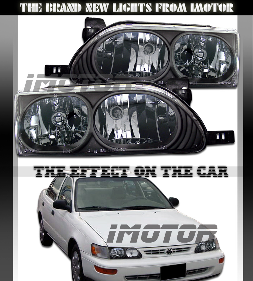 93 97 Toyota Corolla Crystal Headlights Head Lamps Black BLK Assembly