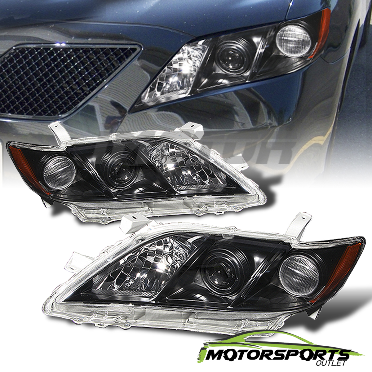2007 2008 2009 toyota camry black factory style projector headlights pair. Black Bedroom Furniture Sets. Home Design Ideas