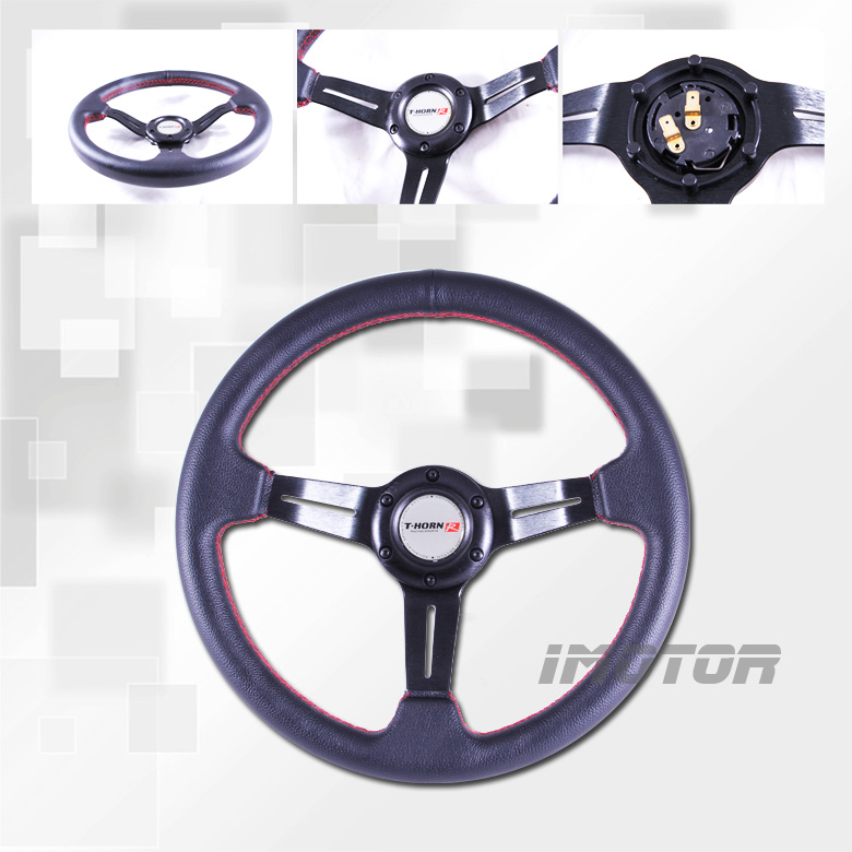 P V C Leather 350mm Black Steering Wheel w Red Stitch 3 Black Spoke New Look