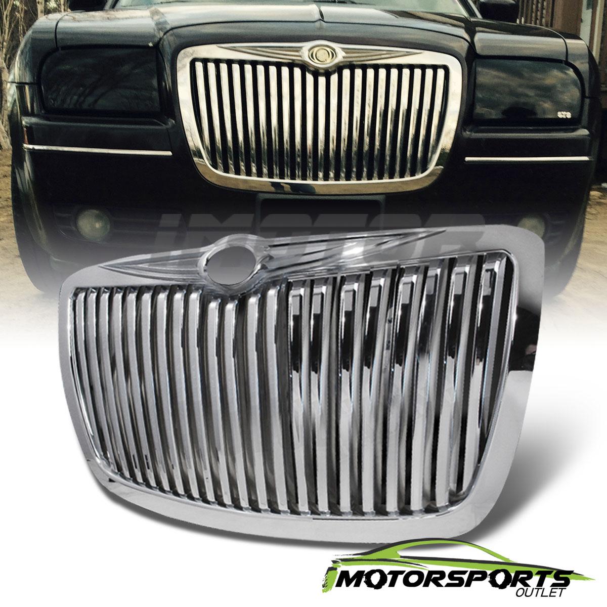 2005 2010 Chrysler 300 300c Shinny Black Vertical Front: [Rolls Royce Style] 2005-2010 Chrysler 300/300C Chrome