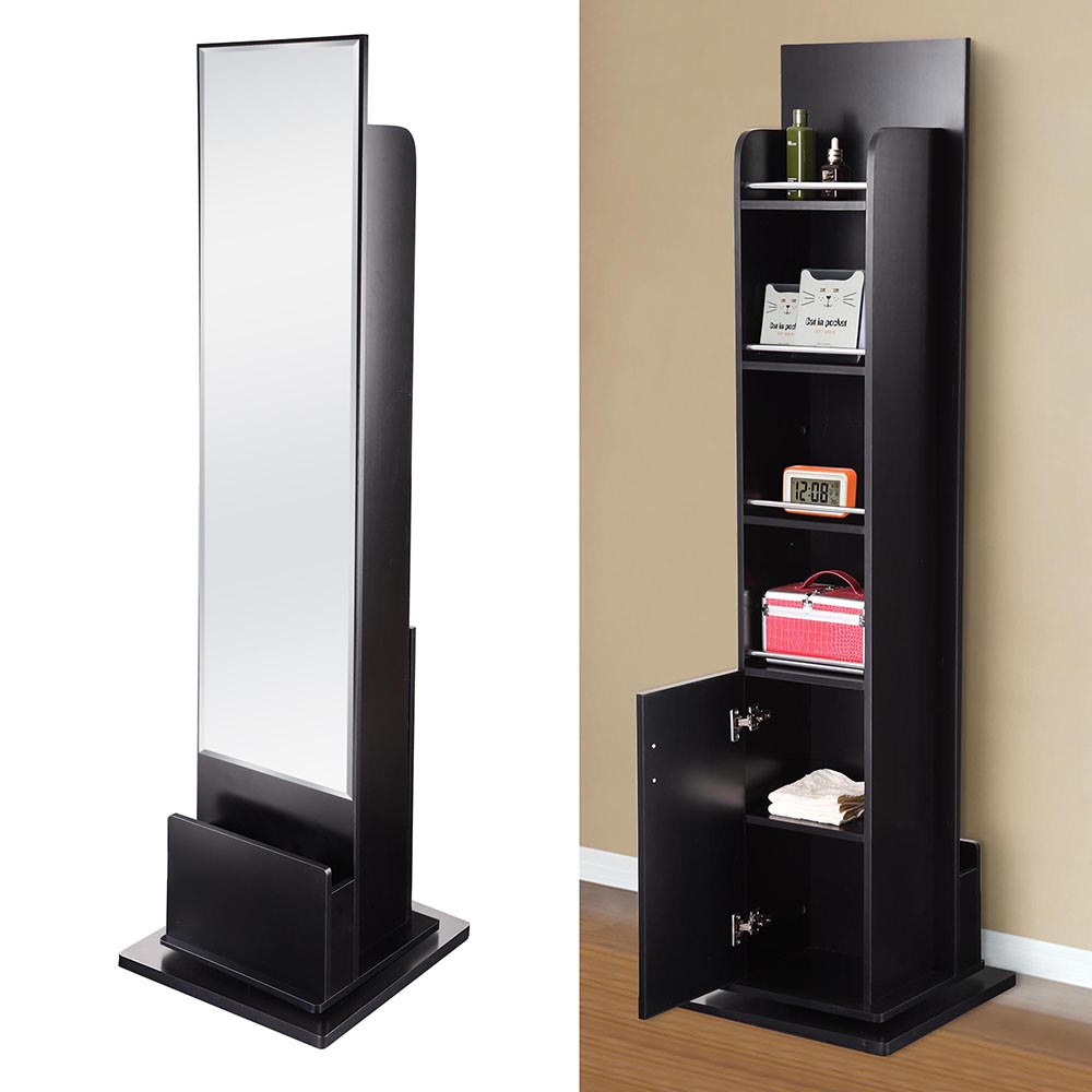 Dressing Floor Mirror Full Length Swivel Shelf Cabinet Drawer ...