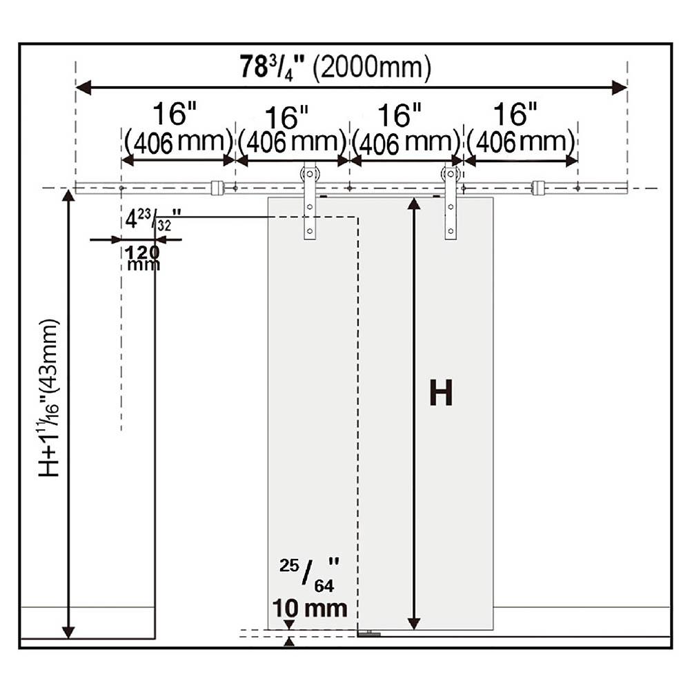 6FT 6.6FT Carbon Steel Sliding Barn Wood Door Hardware Track System Closet Set