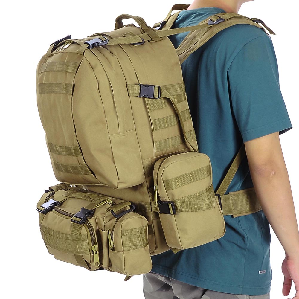 Camping Hiking Backpacking: 55L Outdoor Military Molle Tactical Backpack Rucksack