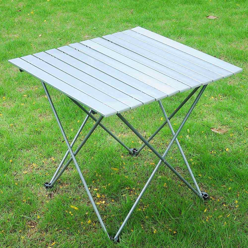aluminum roll up table folding camping outdoor indoor picnic w bag heavy duty ebay. Black Bedroom Furniture Sets. Home Design Ideas