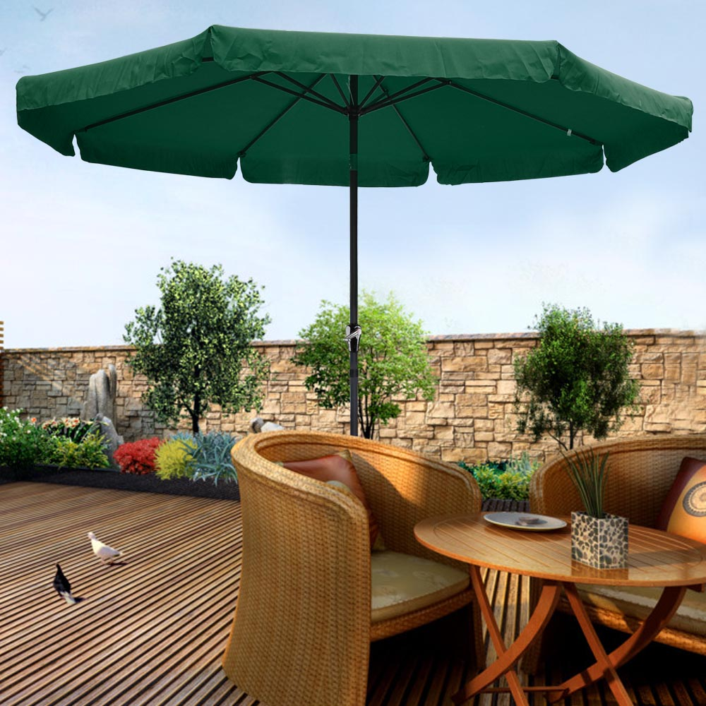 10ft Aluminum Outdoor Patio Umbrella W Valance Crank
