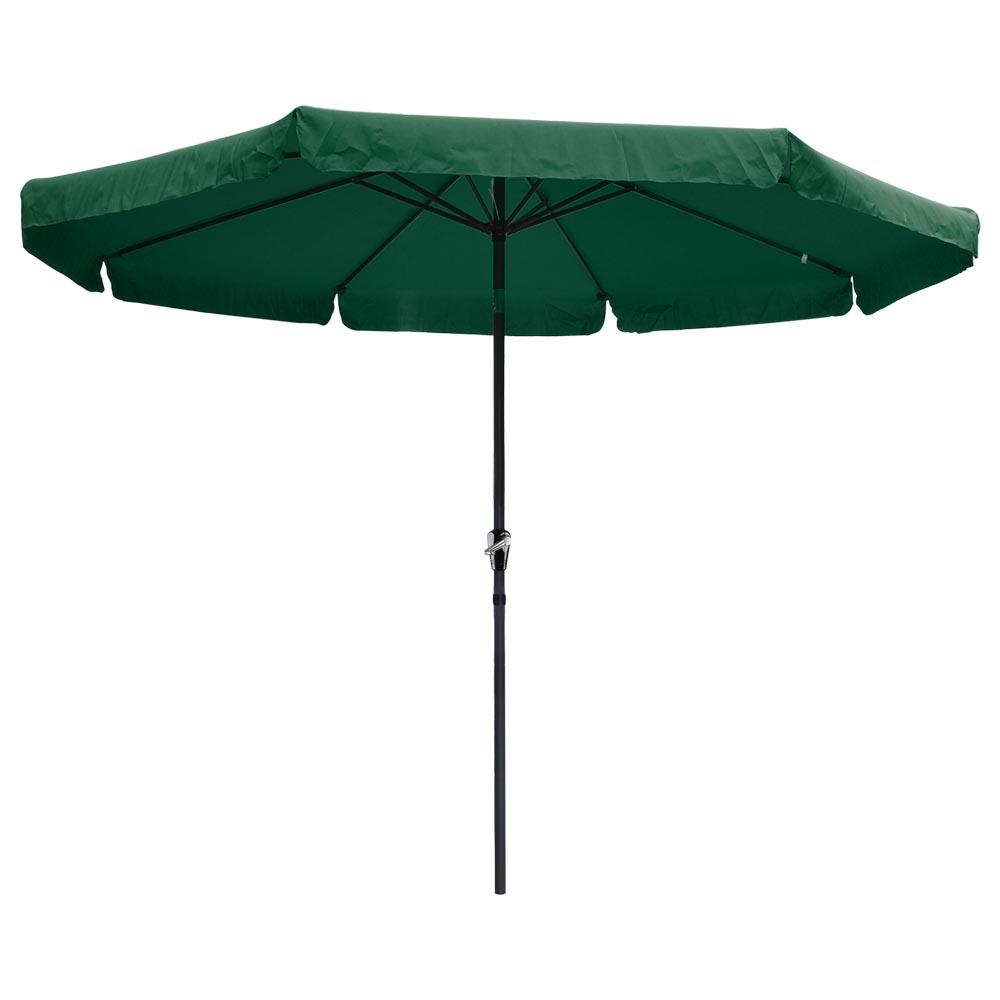 10ft Aluminum Outdoor Patio Umbrella W/Valance Crank Tilt