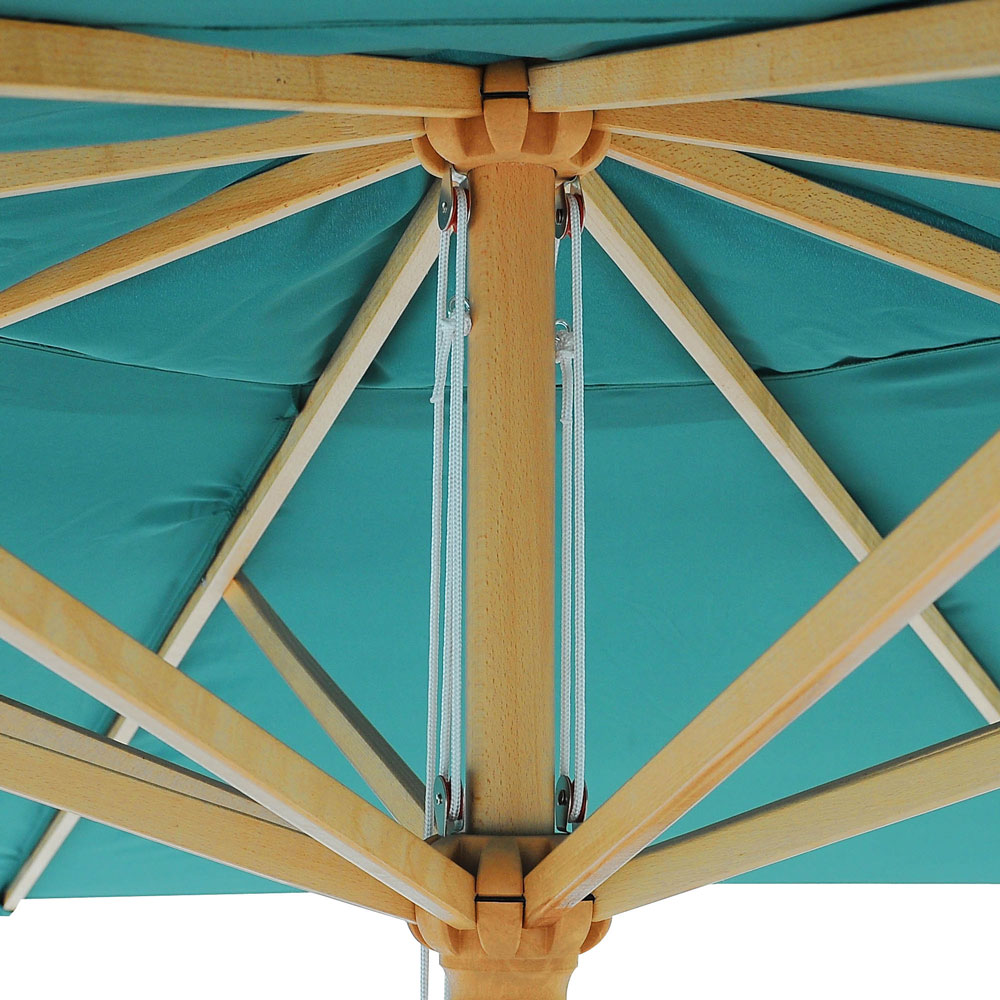 13 Ft Patio Wood Umbrella German Wooden Pole Outdoor Beach