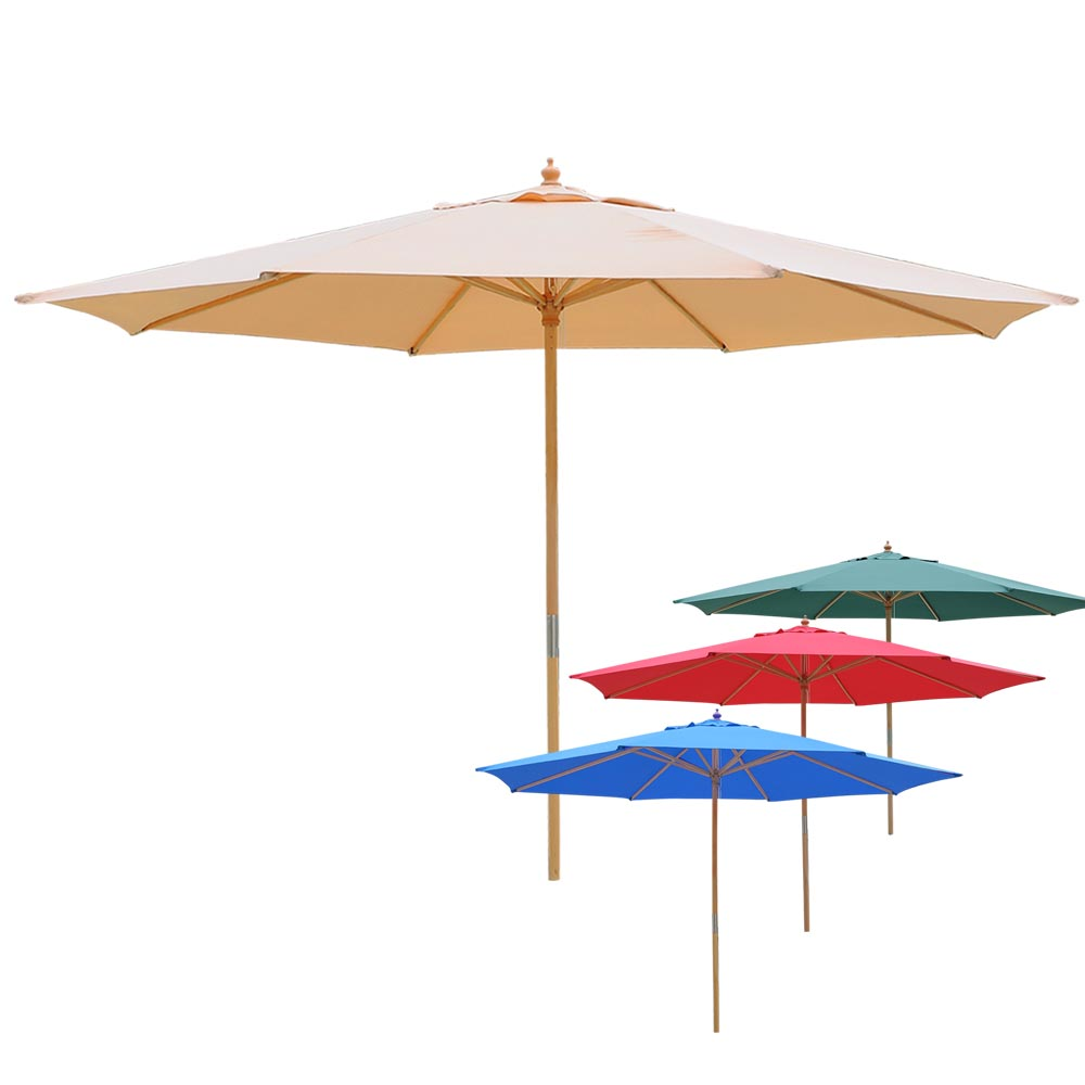 13ft German Wood Umbrella Market Patio Outdoor Beach Yard