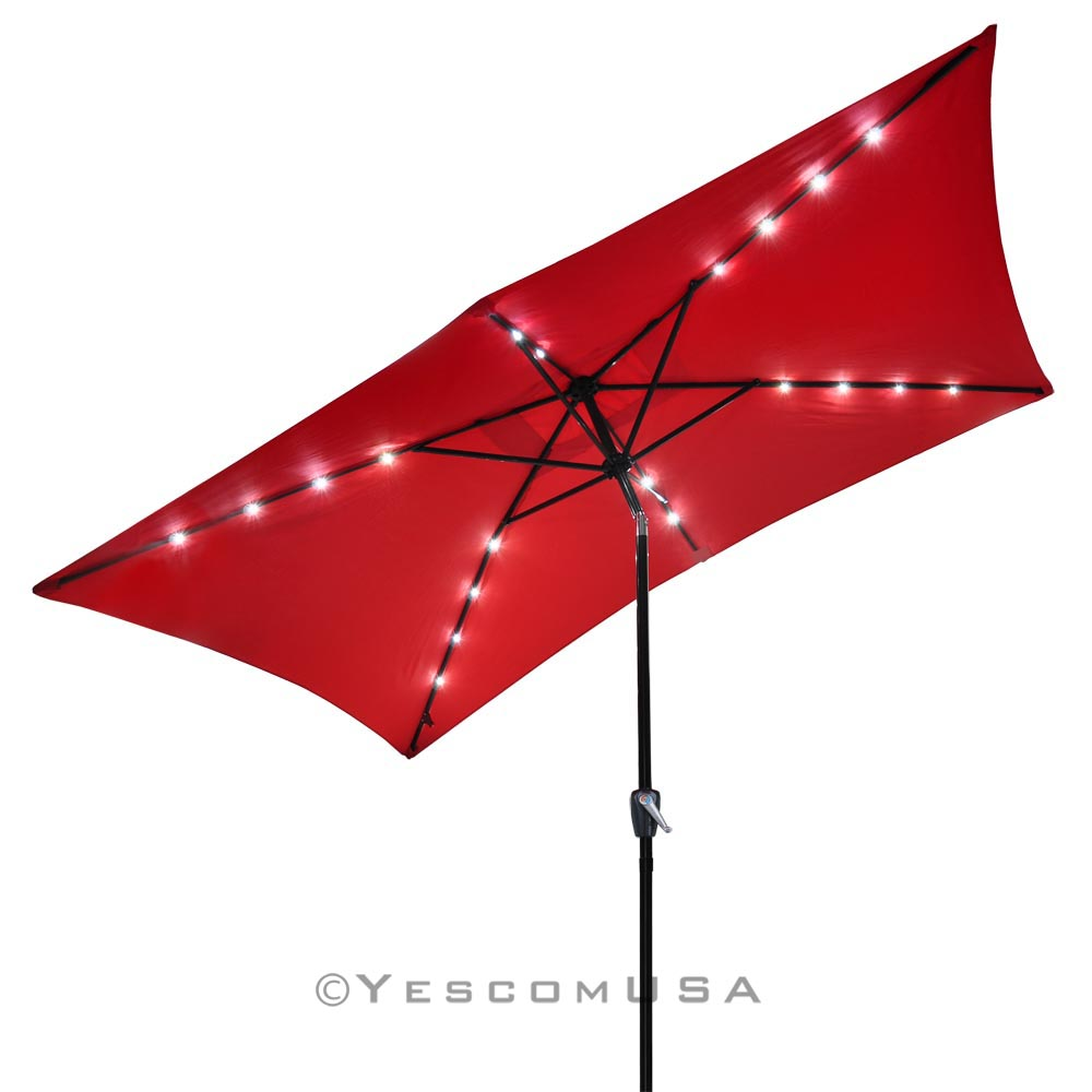 10'x6 5' Patio Solar Umbrella LED Light Tilt Deck
