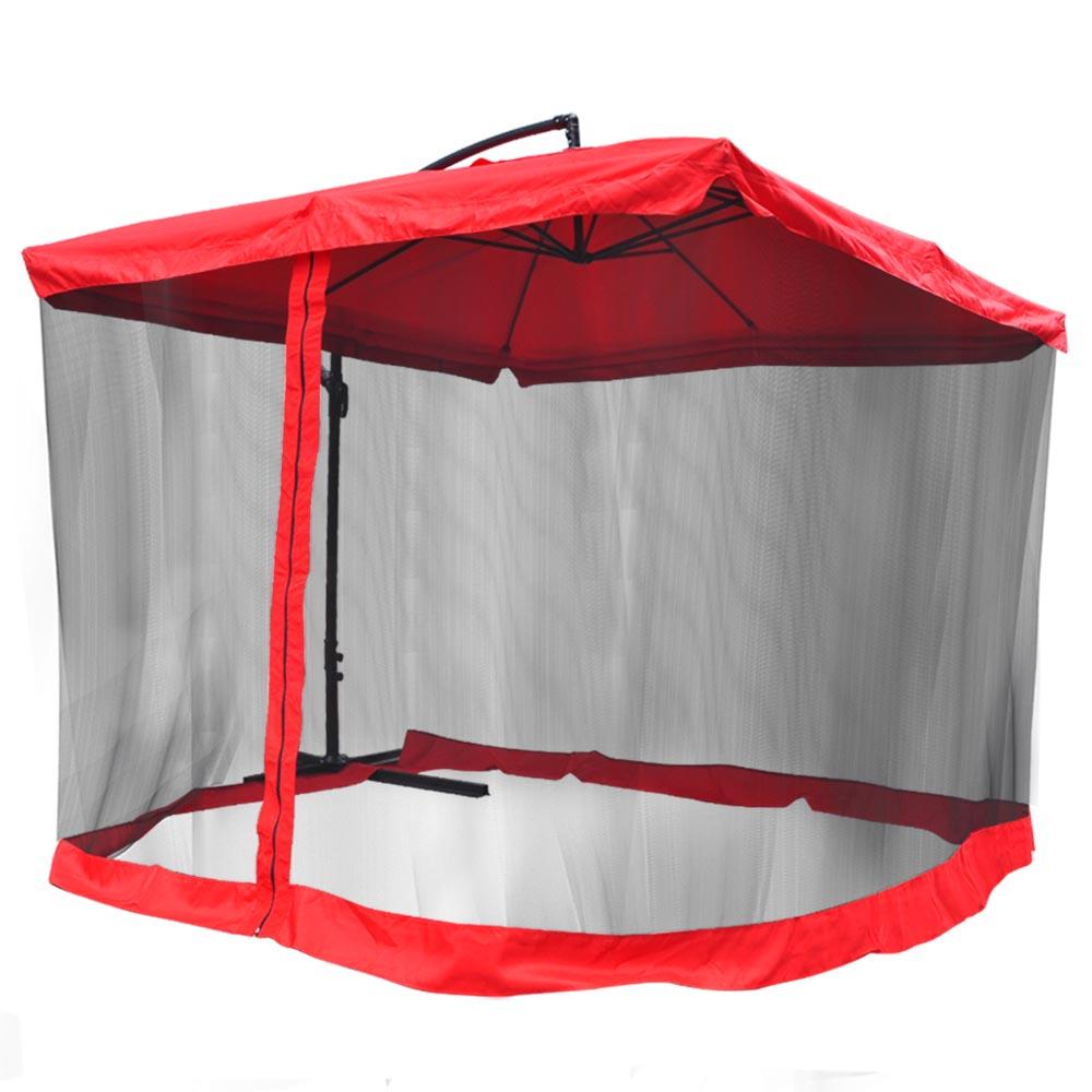 Patio Umbrella Netting: 9' Square Outdoor Patio Hanging Offset Aluminum Umbrella