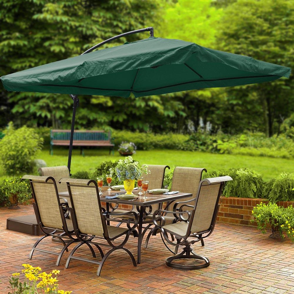 9x9 39 deluxe square patio offset hanging umbrella gazebo for Sun patio