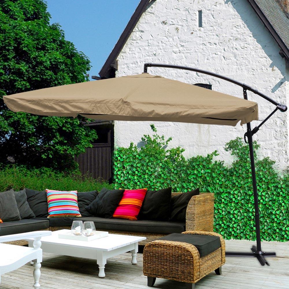 9x9 039 Deluxe Square Patio Offset Hanging Umbrella