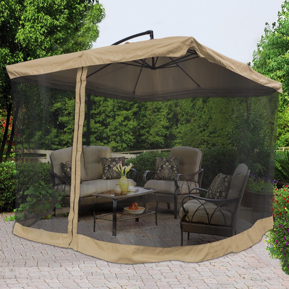 9X9 039 Square Aluminum Offset Umbrella Patio Outdoor