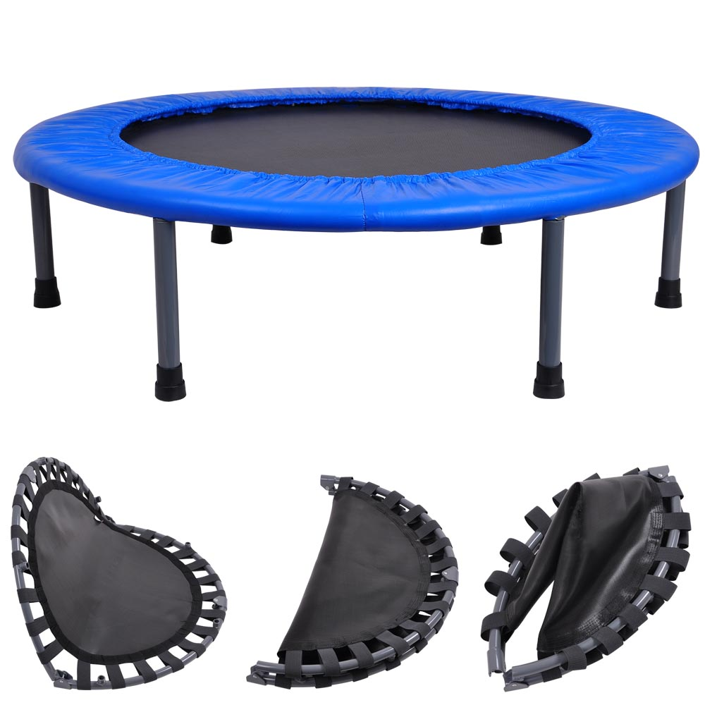 "36"" Round Fitness Mini Trampoline W Bag Folding Rebounder"
