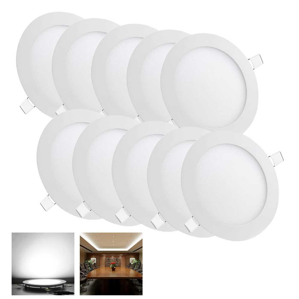 10 pack 9w round recessed led panel light ceiling down lights bulbs cool white ebay. Black Bedroom Furniture Sets. Home Design Ideas