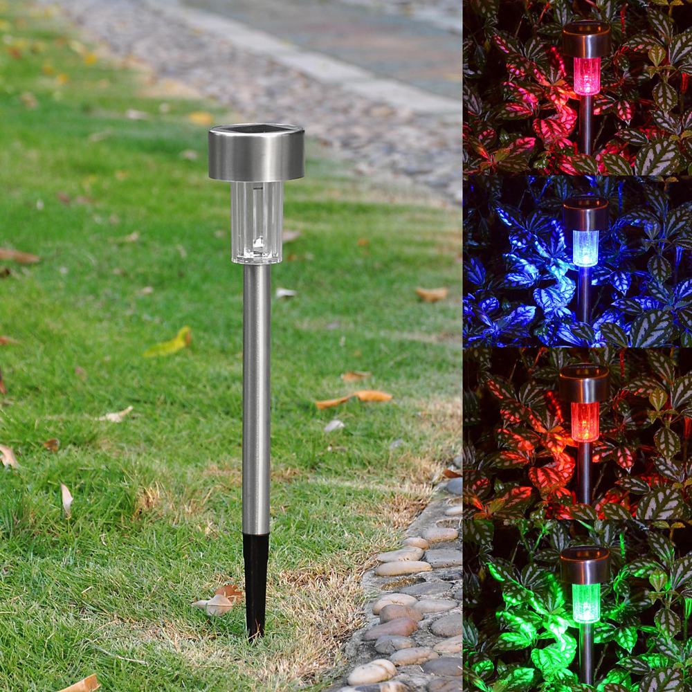 6 pack outdoor stainless steel led solar power light garden path landscape lamps. Black Bedroom Furniture Sets. Home Design Ideas