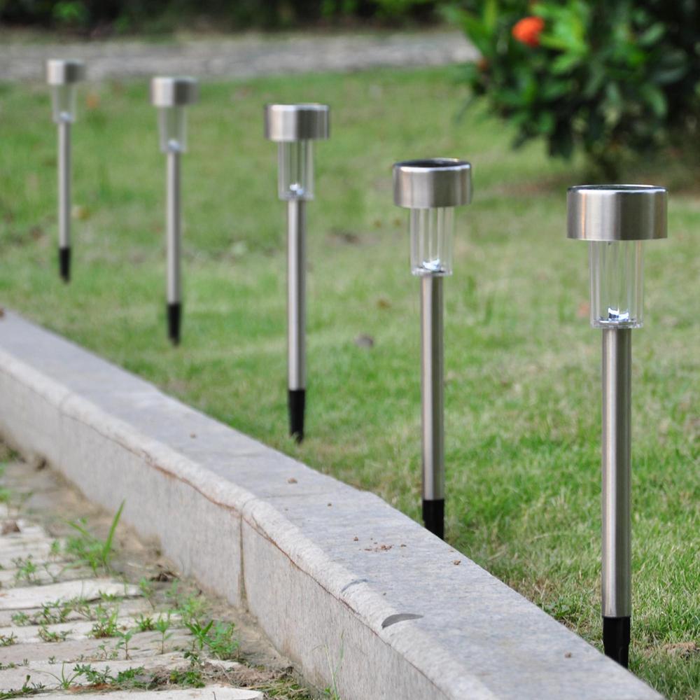 12pcs garden outdoor stainless steel led solar landscape for Outside walkway lights