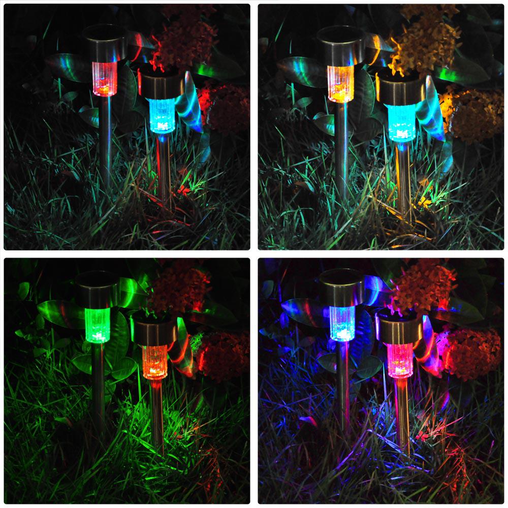 Garden Lights Solar Ebay : Colored stainless steel led solar power path lights
