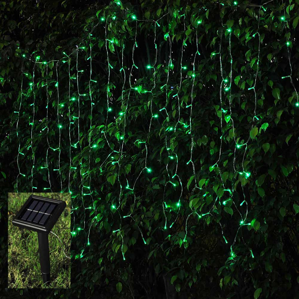 100 led waterproof solar power string light window garden for Window net lights