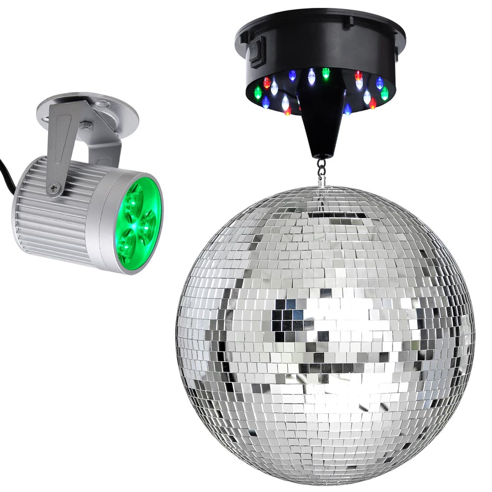 12 Mirror Disco Ball Dj Stage Party 6rpm Motor Led Light