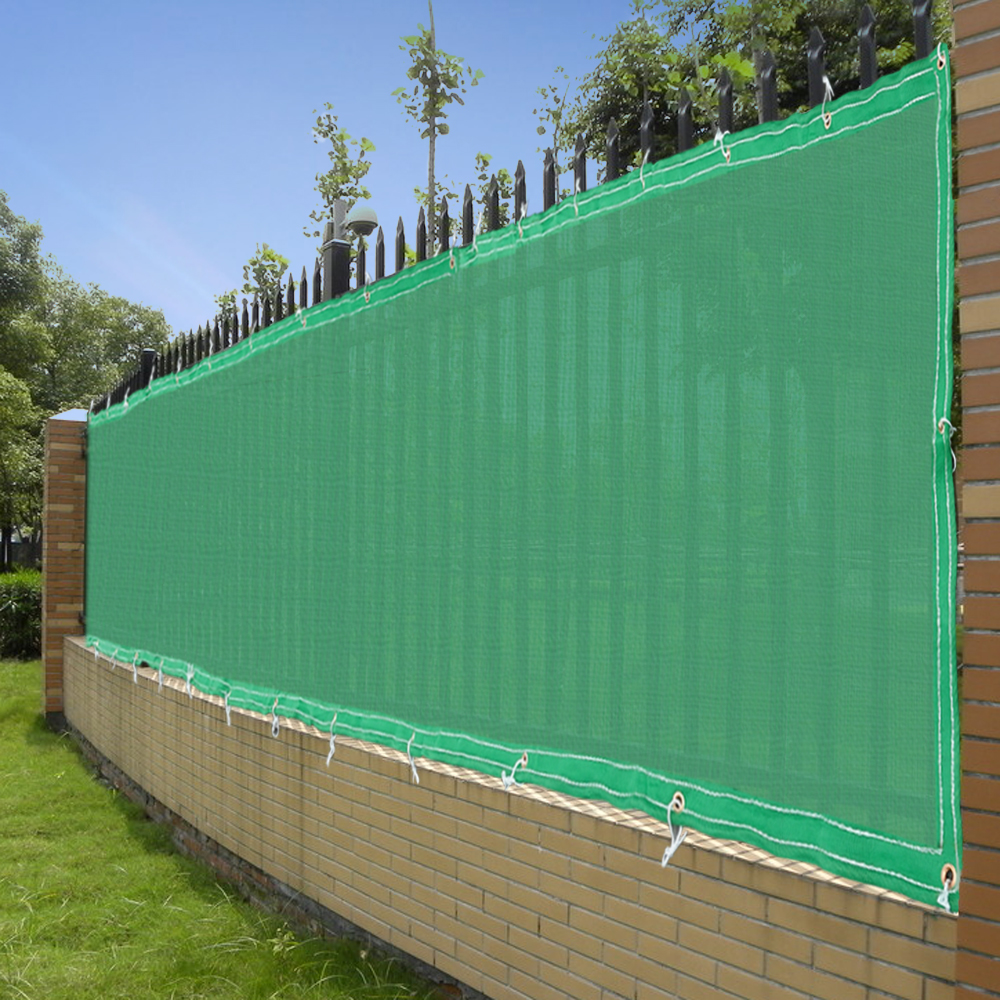 4 39 x50 39 fence screen cover green black flat fabric slat for Outdoor privacy fence screen