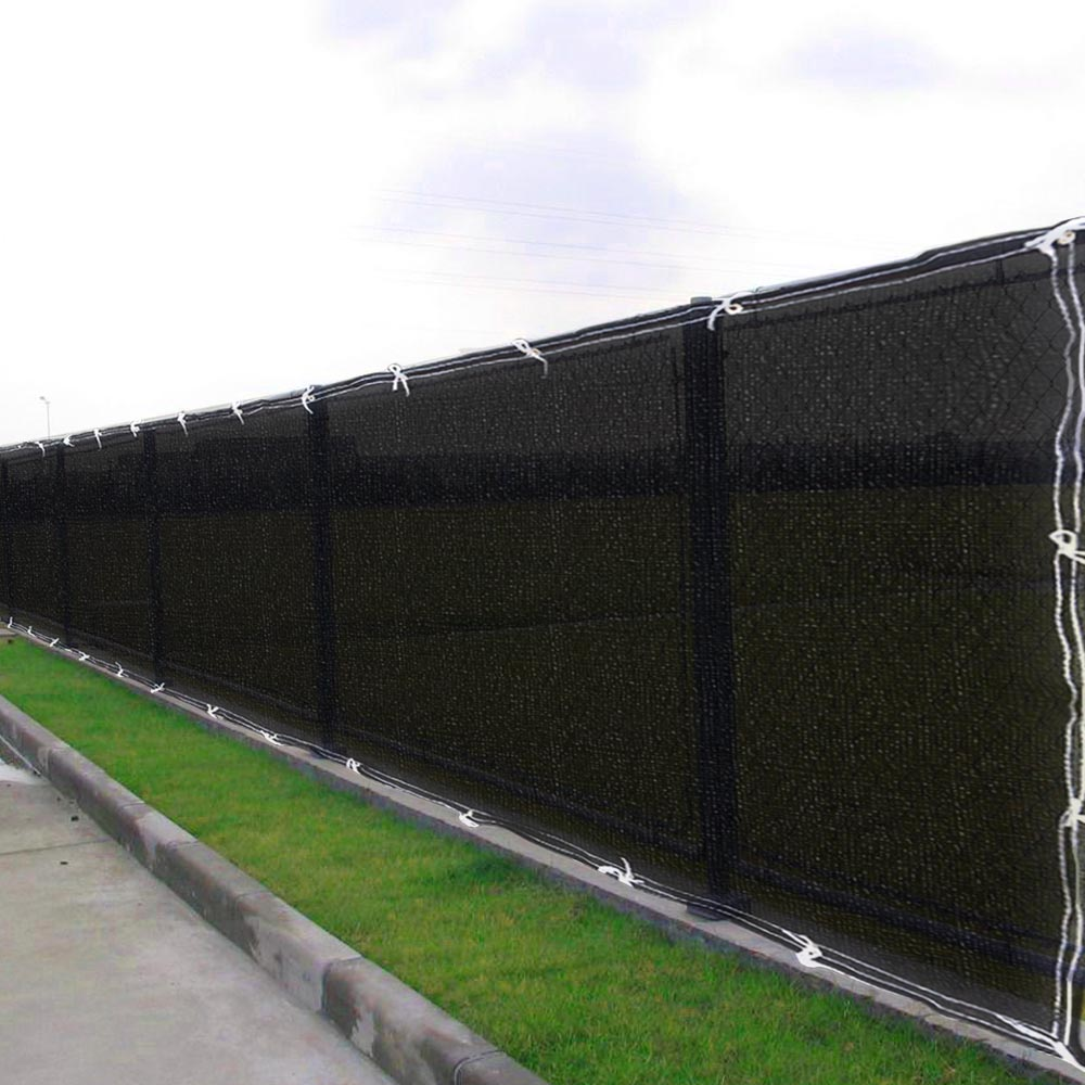 6 39 x50 39 fence screen cover green black flat fabric slat for Outdoor privacy fence screen