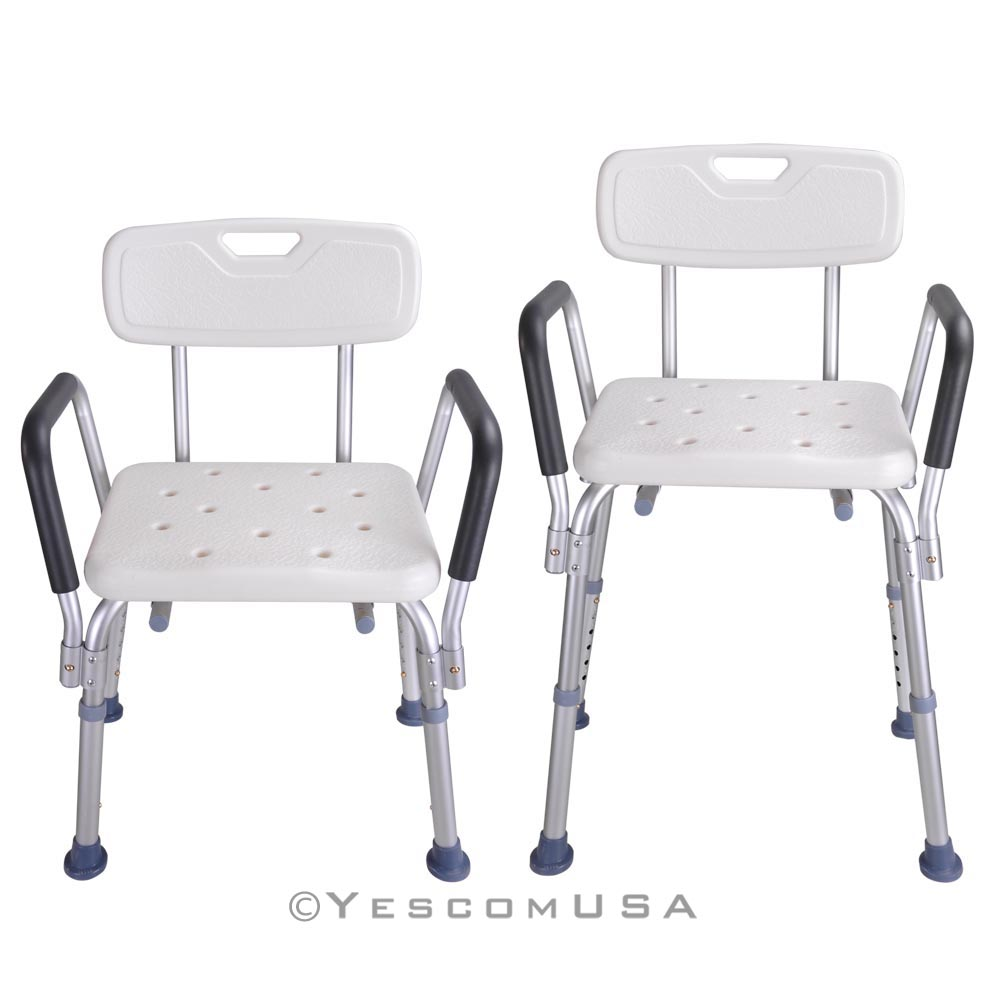 Adjustable medical shower chair bathtub bench bath seat stool armrest back white ebay Bath bench