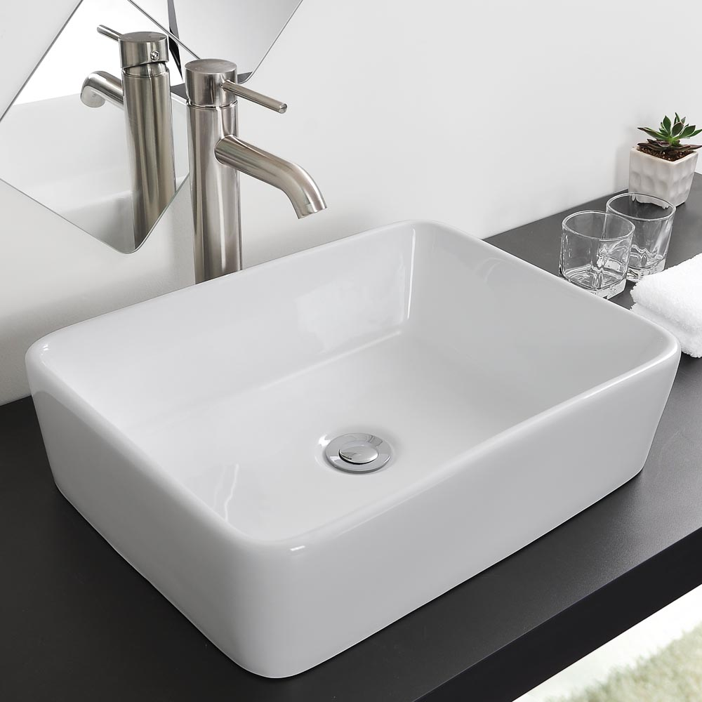 Bathroom porcelain ceramic vessel sink chrome pop up drain art white basin opt ebay for White porcelain bathroom faucets