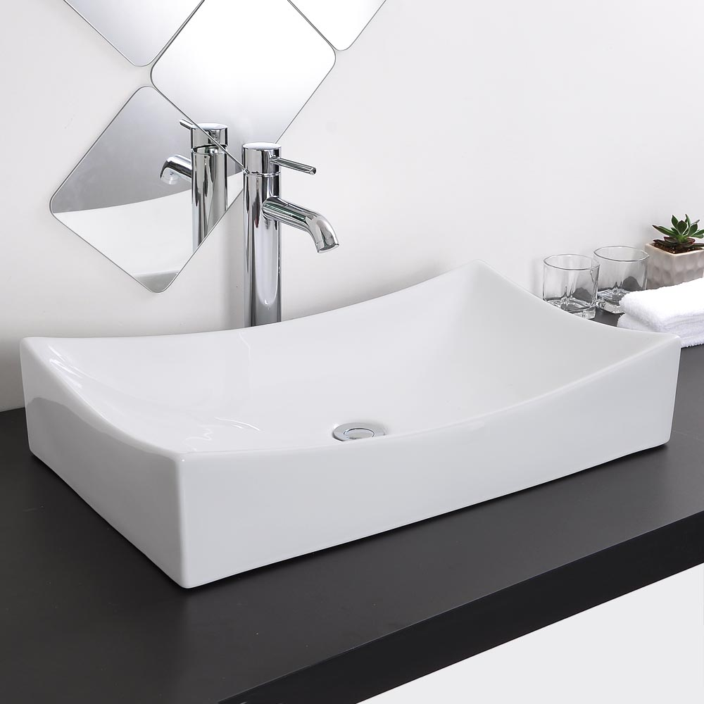 Bathroom Porcelain Ceramic Vessel Sink Chrome Pop Up Drain Art White Basin Opt Ebay