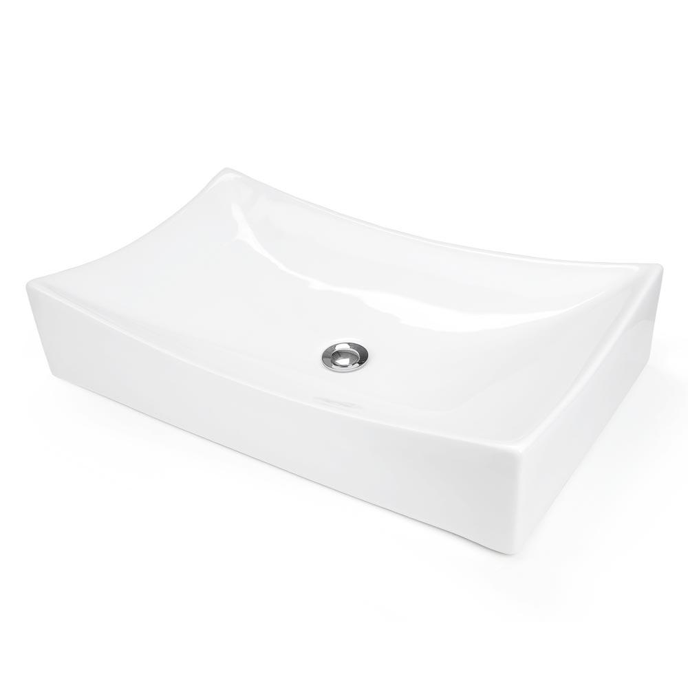Bathroom Porcelain Ceramic Vessel Sink Chrome Pop Up Drain Art White Basin Opt