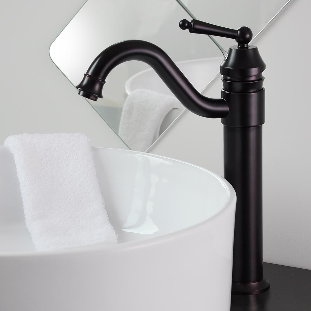 Bathroom Lavatory Vessel Sink Faucet Swivel One Hole