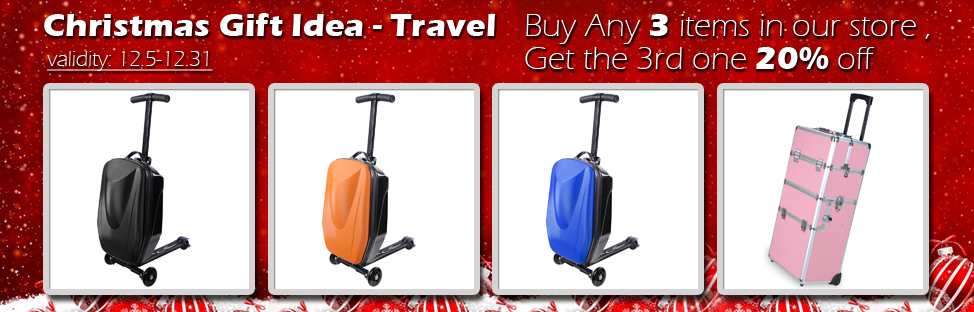 Christmas Gift Idea - Travel - Buy 2, Get 1 at 20% off - Validity 12/05 - 12/31