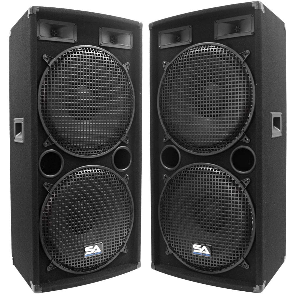 seismic audio pair dual 15 pa dj speakers 1000 watts pro. Black Bedroom Furniture Sets. Home Design Ideas