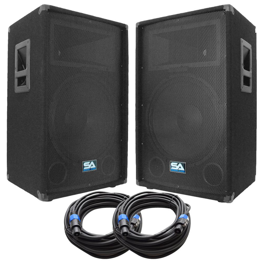 pair of 15 pa dj loudspeakers and 50 39 speaker cables 15. Black Bedroom Furniture Sets. Home Design Ideas
