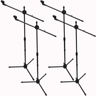 Seismic Audio - 4 Pack - Dual Tripod Microphone Stand with 5 Mic Clips