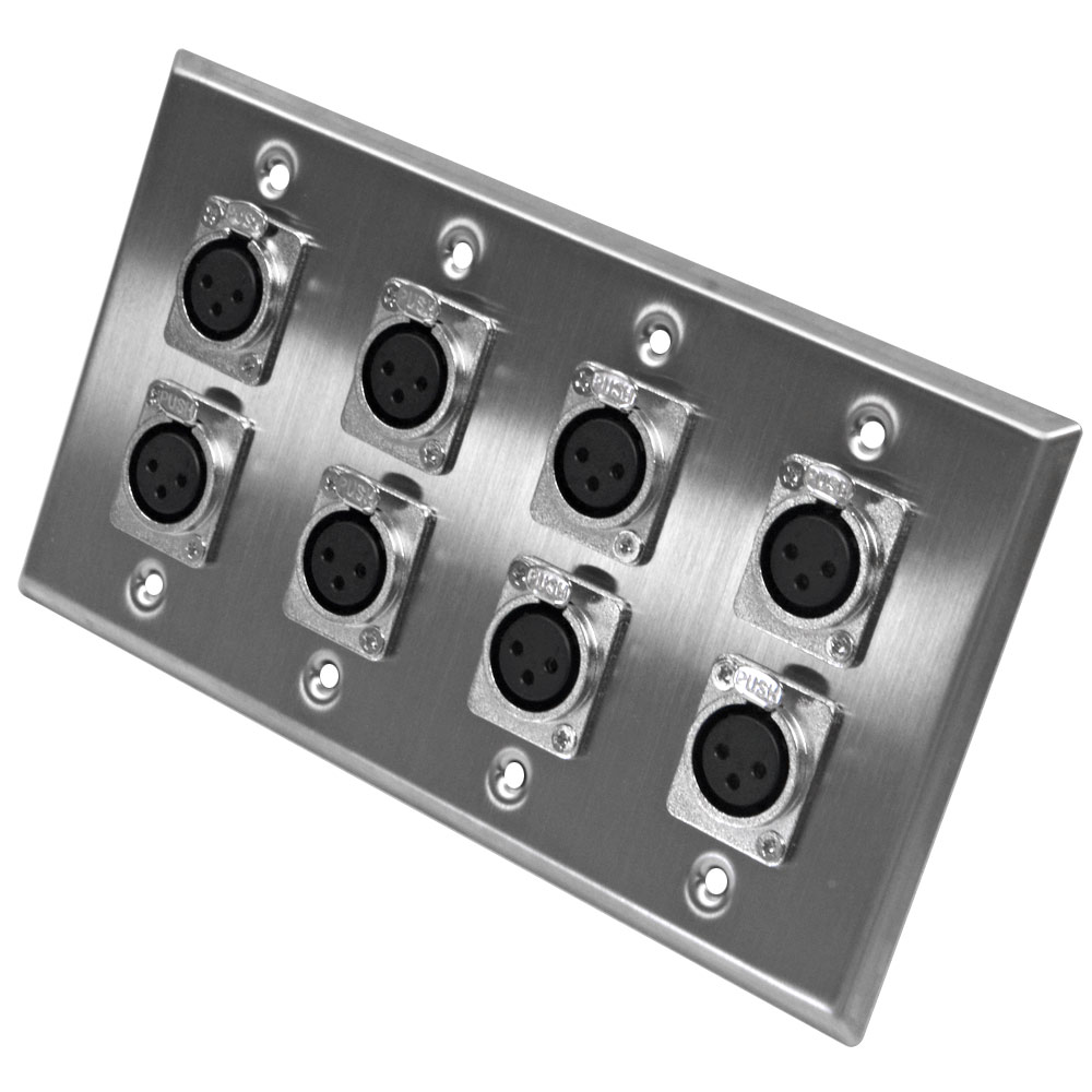 Seismic Audio Stainless Steel Wall Plate 4 Gang With 8