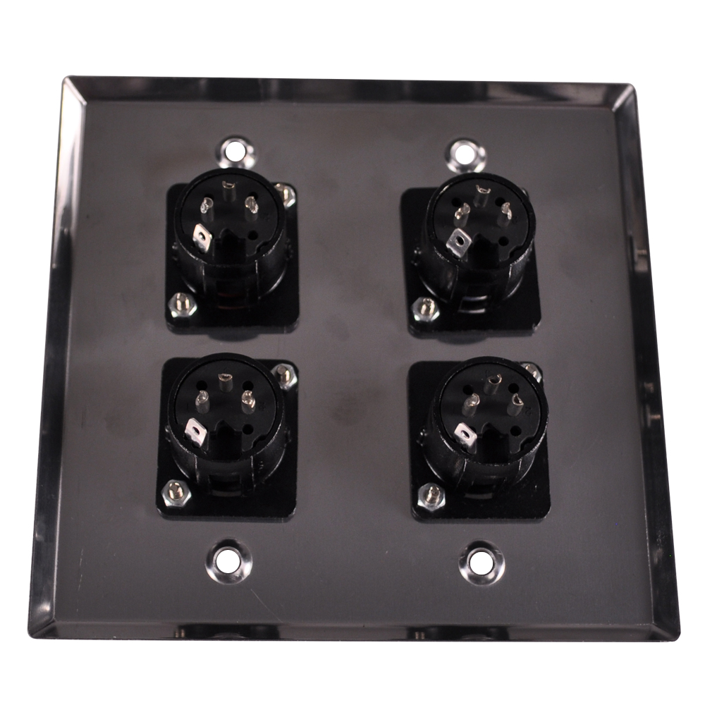 Seismic Audio Stainless Steel Wall Plate 2 Gang With 4