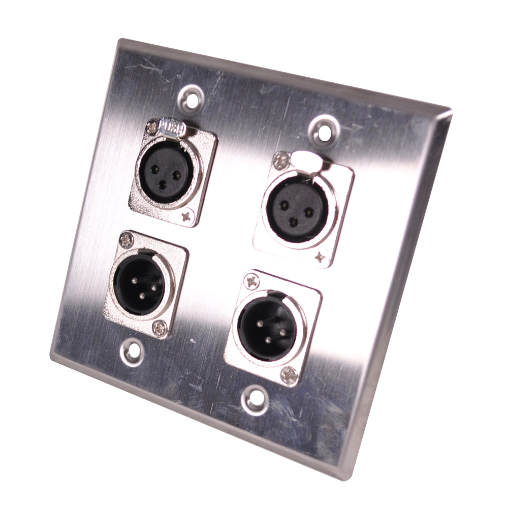 Stainless Steel Wall Plate 2 Gang With 2 Xlr Male And 2